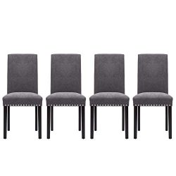 LSSPAID Upholstered Parsons Dining Chair Polished Nailhead Wood Legs in Grey,Set of 4