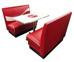 Vitro Seating Products CB-II Coke Dinette Furniture Set with 2 Dynamic Booths and 24″ x 42 ...