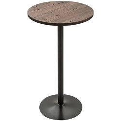 HOMCOM 42″ H Rustic Industrial Bar Table Pub Table Elm Wood Top with Metal Base
