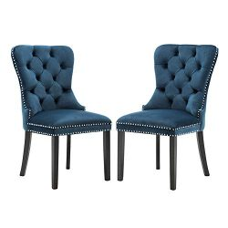 Elegant Tufted Upholstered Dining Chairs, Retro Velvet Dining Room Chair Set of 2 with Nailed Tr ...