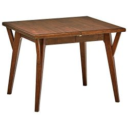 Rivet Federal Mid-Century Modern Small Wood Dining Table, 39-57″W, Brown