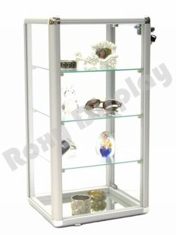 ROXYDISPLAY™ (SC-KDCAB) COUNTERTOP Glass CASE Standard Aluminum framing,with Lock and Mirrored Base