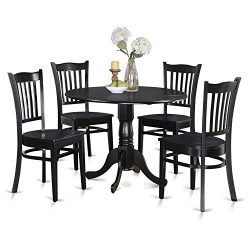 East West Furniture DLGR5-BLK-W 5-Piece Kitchen Table Set, Black Finish, Wood Seat