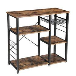 VASAGLE Vintage Kitchen Baker's Rack, Utility Storage Shelf, MicrowaveOven Stand MetalFrame,W ...