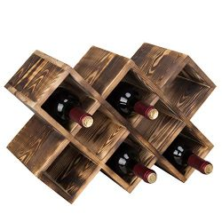 MyGift Countertop Burnt Wood 8-Bottle Wine Rack