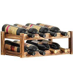 Aobosi 8-Bottle Built-in Wine Cellar Rack-Retro Style,2-Tier Nature Wooden Wine Cooler Bottles S ...