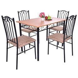 Tangkula 5 Piece Dining Table Set Vintage Wood Top Padded Seat Dining Table and Chair Set Home K ...