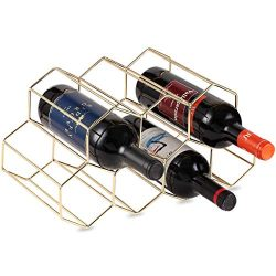 Buruis 7 Bottles Metal Wine Rack, Countertop Free-stand Wine Storage Holder, Space Saver Protect ...