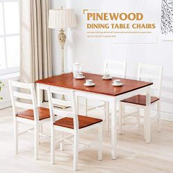 Mecor 5 Piece Kitchen Dining Table Set, 4 Wood Chairs Dinette Table Kitchen Room Furniture,Red
