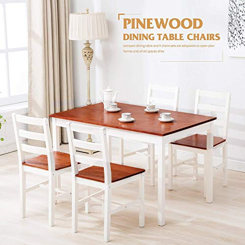 Mecor Dining Chairs Set Of 4 Kitchen Leather Chair With: Mecor 5 Piece Kitchen Dining Table Set, 4 Wood Chairs