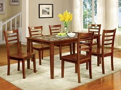 Furniture of America Venice 7-Piece Faux Marble Top Dining Set, Antique Oak