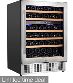 """Aobosi 24"""" Wine Cooler Dual Zone 52 Bottle Wine Refrigerator Built in and Freestanding wit ..."""