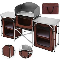 Happybuy Portable Camping Kitchen Table Multifunctional Camping Kitchen Table Windscreen Camping ...