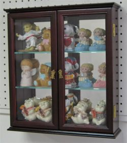 Small Wall Mounted Curio Cabinet/Wall Display Case with glass door (Mahogany Finish)