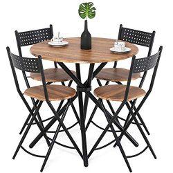 Homury 5pcs Dining Table Set Kitchen Table Kitchen Furniture Round Dining Table with 4 Round Din ...