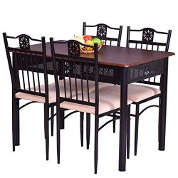 Tangkula 5 Piece Dining Table and Chairs Set Vintage Retro Wood Top Metal Frame Padded Seat Dini ...