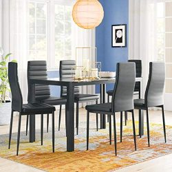 Bonnlo 7 Pieces Dining Table Set for 6 Persons Kitchen Dining Table with 6 Chairs,Black
