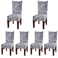 Spandex Stretch Chair Protector Removable Washable Dining Chair Slipcover With Printed Pattern F ...