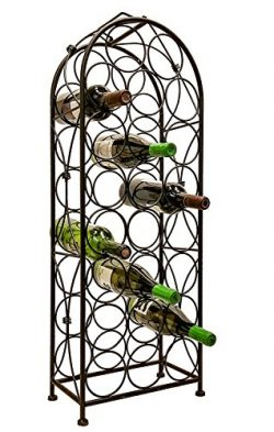 LEMY Metal Arched Freestanding Wine Rack Stand Wine Bottle Display Holder – Holds 23 Bottl ...