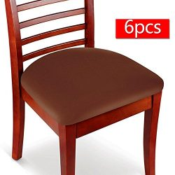 Boshen 6PCS Elastic Spandex Chair Stretch Seat Covers Protector for Dining Room Kitchen Chairs S ...