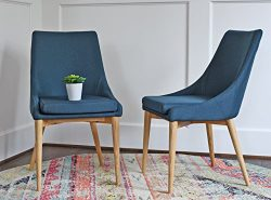 Upholstered Modern Dining Room Chairs – Mid Century Dining Table Chairs – Teal Blue  ...
