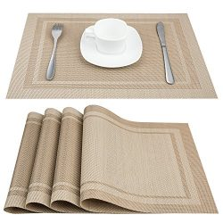 Artand Placemats, Heat-Resistant Placemats Stain Resistant Anti-Skid Washable PVC Table Mats Wov ...