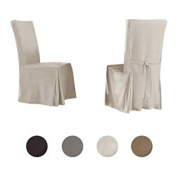 Serta | Relaxed Fit Smooth Suede Furniture Slipcover for Dining Room Chair (Set of 2), Long Skir ...