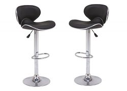 Vogue Furniture Direct VF1581046-2 Adjustable Height Swivel Barstools with Footrest (Set of 2),  ...