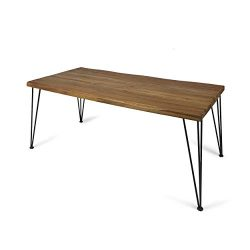 Kama Patio Dining Table, Rectangular, 72″, Acacia Wood Table Top, Rustic Iron Hairpin Legs ...