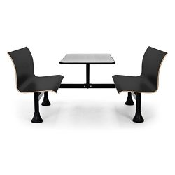 OFM 1006W-BLK Retro Bench with Stainless Steel Table Top and Wall Frame
