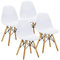 VECELO Mid Century Modern Eames Style Dining Chair Side Chairs with Natural Wood Legs (Set of 4) ...