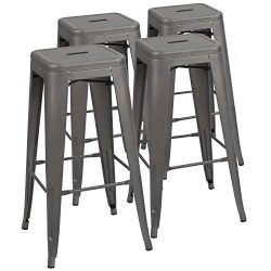 Devoko Metal Bar Stool 30″ Tolix Style Indoor/Outdoor Barstool Modern Industrial Backless  ...