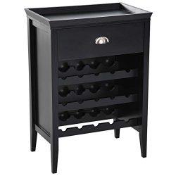 "HOMCOM 15 Bottle Wood 33"" Floor Wine Rack Storage Cabinet – Black"