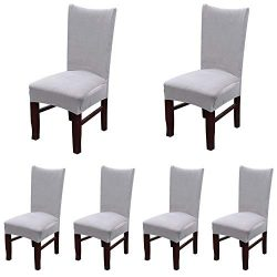 Smiry Velvet Stretch Dining Room Chair Covers Soft Removable Dining Chair Slipcovers Set of 6, L ...