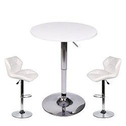 PULUOMIS 35 Inches Height Pub Table Round White MDF Top, with 2 White Contemporary Chrome Air Li ...