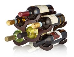 AdirHome Wooden Wine Rack – 6 Bottle (Cherry)