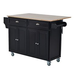 HOMCOM Wood Top Drop-Leaf Multi-Storage Cabinet Rolling Kitchen Island Table Cart with Wheels &# ...