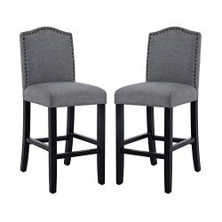 DAGONHIL 24 Inch Counter Height Bar Stools with Bronze Nail, Gray, Set of 2