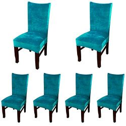 Smiry Velvet Stretch Dining Room Chair Covers Soft Removable Dining Chair Slipcovers Set of 6, P ...