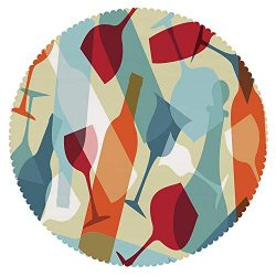 iPrint Unique Round Tablecloth [ Wine,Modern Design Colorful Silhouettes of Glasses Bottles Fun  ...