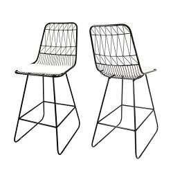 Lilith Counter Stools, 26″ Seats, Modern, Geometric, Black Iron Frames with Ivory Cushion  ...