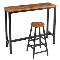 "Mr IRONSTONE 2-Piece Bar Table Set, 47 ""Pub Dining Height Table Bistro Table with 1 Bar Stools W ..."