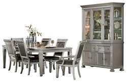 Batavia Hollywood Glam 8PC Dining Set Table, 2 Arm Chair, 4 Chair, Buffet & Hutch in Silver