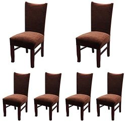 Smiry Velvet Stretch Dining Room Chair Covers Soft Removable Dining Chair Slipcovers Set of 6, C ...