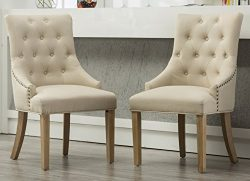 Roundhill Furniture C169TA Button Tufted Solid Wood Wingback Hostess Chairs with Nail Heads, Set ...