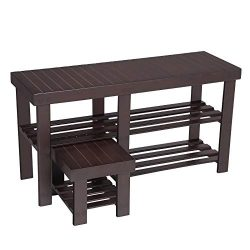 SONGMICS Bamboo Shoe Rack Bench with Stool for Kids, Set of 2 Shoe Racks, 3-Tier Heavy Duty Shoe ...