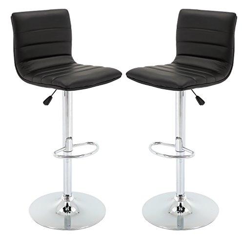 Vogue Furniture Direct Adjustable Leather Barstool, Black