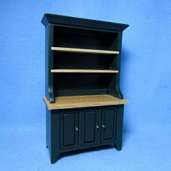 Dollhouse & Miniature Kitchen Dining Room Hutch/Cabinet in Green & Oak CLA10531