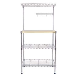 H&B Luxuries 4-Tier Adjustable Baker's Rack Wire Shelf with 4 Hanging Hooks MRK04T