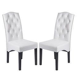 Merax Urban Style Solid Wood and Leatherette Padded Parson Dinning Chairs, Set of 2, White